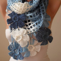 Mother's Day - White - Blue and Dark Blue Wool Crochet Scarf - Handknit - Winter Scarf