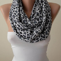 Trendy Scarf - Mother's Day Gift Scarf - Leopard  Infinity Scarf - Soft Cotton Fabric