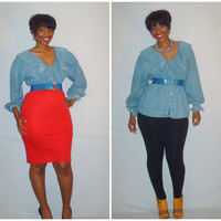 Vintage 1990s Denim Ruffle Collar Blouse