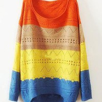 Color Striped Loose Sweater
