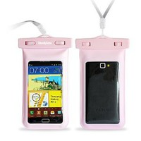 "DandyCase Pink Waterproof Case for Apple iPhone 5, Galaxy S4, HTC One, iPod Touch 5 - Also fits other Large Smartphones up to 5.3"" Including"