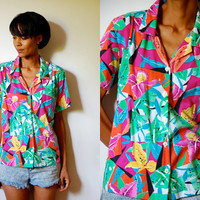 Vtg Tropical Floral Hawaiian Print SS Button Down Shirt
