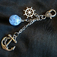 Nautical Fried Marble Anchor Love Charm Blue Keychain by KatieDidsx3