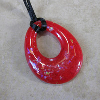 Red Necklace, Funky Teardrop Donut, Simple Jewelry, Red Jewelry - Randi - 4195 -3
