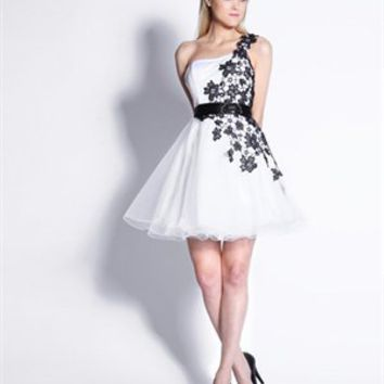 One Shoulder White & Black Floral Embroidered Tulle Short Prom Dress PD1433