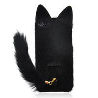 Black Fluffy Cat with Tail Case for iPhone 5
