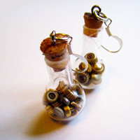 Steampunk earring vials vial earrings full of by InsomniaStudios