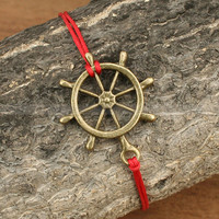 Vintage rudder bracelet- Adjustable helm bracelet