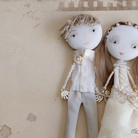 Personalized Art Dolls Bride &amp; Groom Wedding Mixed by miopupazzo