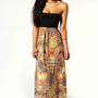 Sophie Printed Contrast Top Maxi Dress