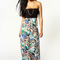 Molly Printed Contrast Top Maxi Dress