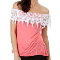 Crochet Fringe Coral Top