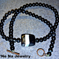 "Men's Necklace- Genuine Onyx  ""Hope"""