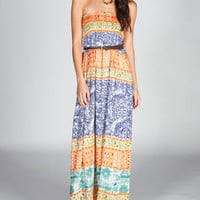 ANGIE Stripe Scarf Maxi Dress