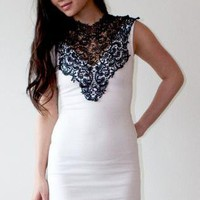 White Cocktail Dress - Lace Neck Dress | UsTrendy