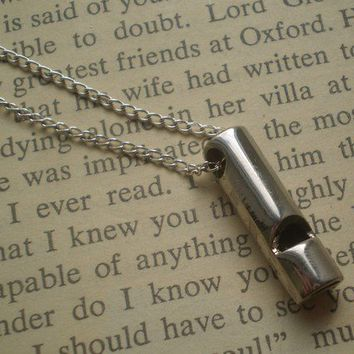 Silver whistle necklace by littlepancakes on Etsy