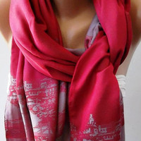 Pink Silk Shawl / Scarf ISTANBUL by womann on Etsy