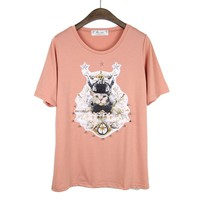 Cute Kitty &Angeles Rivet Print Pink T-shirt