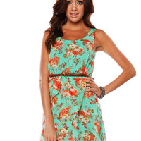 Papaya Clothing Online :: CHIFFON FLOWER DRESS W/ SKINNY BELT