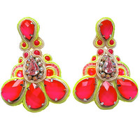MAGIC POTION soutache earrings in neon pink with dash of yellow