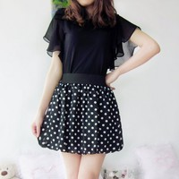 High Waisted Chiffon Elastic Miniskirt for Summer
