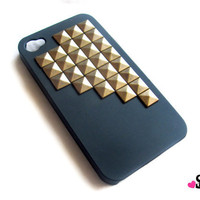 Bronze Brass Studded iPhone 4 4S Black Rubberized by StudMafia