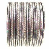 Silver Glass Bangle Bracelets