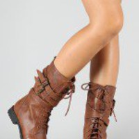 Stella-2 Lace Up Military Mid Calf Boot