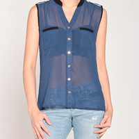On Duty Blouse in Navy