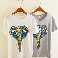 SakuraShop  Unique Design Elephant Print Tshirt