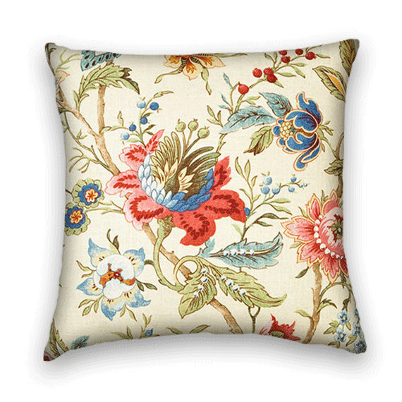Blue And Pink Decorative Pillows : Decorative Pillow Cover 20 x 20 Floral Throw Pillow --Green, Red, Blue, Pink and Cream