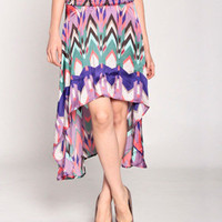 Feelin Unbalanced Skirt in Purple/Multi