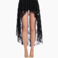 Overlapping Hi Low Lace Skirt in Black