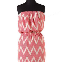 Destination Vacation Chevron Strapless Dress - White + Coral -  $50.00 | Daily Chic Dresses | International Shipping