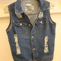 [1724] Vintage Washed Denim Vest