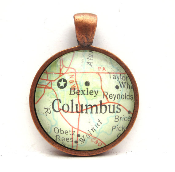 Vintage Map Pendant of Columbus Ohio in Glass by CarpeDiemHandmade