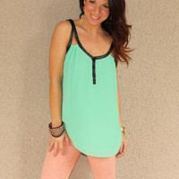 Leather Trim Chiffon Tank (Mint)