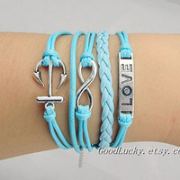 Unisex  simple fashion silver 8 infinity wish, anchor and Love bracelet--Light blue wax rope&Leather braided leather bracelet