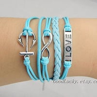 Unisex  simple fashion silver 8 infinity wish, anchor and Love bracelet--Light blue wax rope&amp;Leather braided leather bracelet