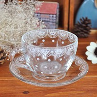 Dainty Lace Teacup and Saucer Set