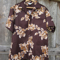 70s Brown Floral Hawaii Nei Aloha Shirt, Men's L // Vintage Tropical Hawaiian Shirt