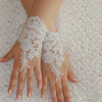 Free Ship, Bridal Glove, white, silver-embroidered lace gloves, Fingerless Gloves, cuff wedding bride, bridal gloves, white,