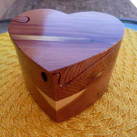 Handcrafted 4 Piece Heart Puzzle Box in Red Cedar