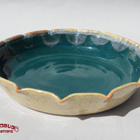 Ceramic Pie Plate - Tan and Teal