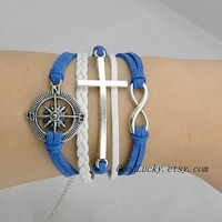 Unisex simple fashion silver 8 infinity wish,Cross and Compass bracelet--white,Navy blue wax rope and white Leather braided bracelet
