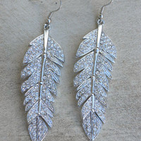 Sparkling Tiered Feather Earrings [3923] - $22.00 : Vintage Inspired Clothing &amp; Affordable Fall Frocks, deloom | Modern. Vintage. Crafted.