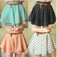 Pleated Polka Dot Chiffon Divided Skirt Mini Dress Shorts culottes w/Belt.