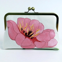 Coral Pink Poppy floral clutch with silk lining, Bag Noir, Bridesmaid clutch, Weddings bride formal clutch purse