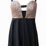 Black Sequin Bustier Cutout Dress with Cutout Cross Back