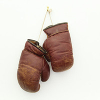 Antique Boxing Gloves Brown Leather